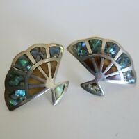 Sterling Silver Fan Earrings Abalone Inlay JH Mexico Screw Back 7.4g [6059]