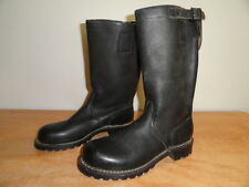 Men's Vtg Black Leather Biker Officer Military Engineer Motorcycle Boots Sz-10