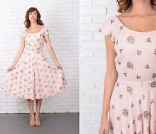 Vintage 50s Pink Dress Embroidered Floral Full A Line Party Cocktail Flower XXS