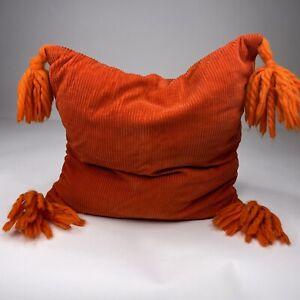 "Vintage 70's Orange Corduroy Square Pillow Cushion Pom Poms 13x13"""