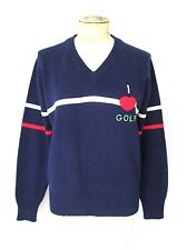 Vgc Vtg 70s Rwb Blue Acrylic Red I Heart Golf V-Neck Sweater White Stripes L