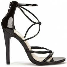 BLACK PATENT ANKLE STRAP STILETTOS STRAPPY SANDALS PEEP TOE HIGH HEELS SHOE SIZE