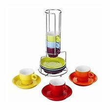 6pc Espresso tazze e piattini Set con supporto 80ml Tea Coffee Cup Colorato