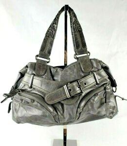 Lockhart Gray Leather Brighton Buckle Zipper Whipstitch Zip Top Satchel Handbag