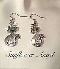 Handmade Vintage Tibetan Silver Abstract sassy Cats, Hook Or Clip On Earrings