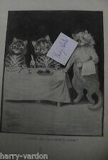 Louis Wain Artist Illustrator Cats Cat Rare Old Victorian Antique Print 1895