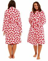 Womens Ladies Fleece Sexy Short Dressing Gown Kiss Lips Nightwear Bath Robe New