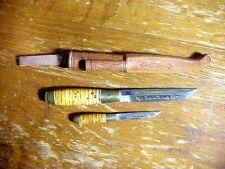 Vintage Finland Double PUUKO KNIFE SET Iisakki Jarvenpaa Kauhava in Sheath