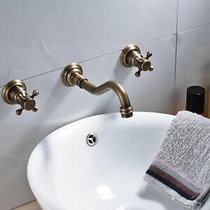 Antique Brass Wall Mount Widespread Tub Basin Faucet Bathroom Mixer Sink Tap