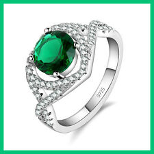 GORGEOUS STERLING SILVER RING with ROUND GREEN and MULTIPLE SMALL CLEAR ZIRCONS