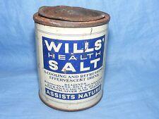 Vintage Old Advertising Tin Boots Wills Health Salt Chemist Medical Tin Full