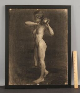 Antique 1920s ELANOR COLBURN Charcoal Portrait Drawing, Nude Woman Figure, NR