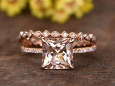 1.5ct Princess Cut Champagne Morganite Bridal Set Ring Band 14k Rose Gold Finish