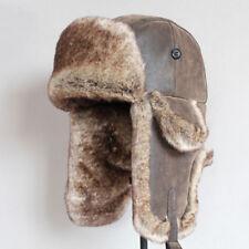 afb933e4e1e1f Bomber Hats Winter Men Warm Russian Leather Fur Ushanka With Ear Flaps