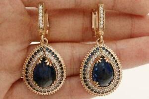 4Ct Pear Cut Deep Blue Sapphire Drop/Dangle Halo Earrings 14K Yellow Gold Finish