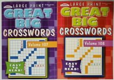 2 New Large Print Great Big Crosswords Puzzle Books Vol#  107,108  Hobby Games