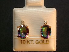 Mystic Topas - Rainbow - & Brillant Ohrstecker - 10 Kt. Gold - 417 - Oval Cut 2