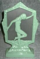 Frankart style flapper nymph art deco green lamp with glass shade and wired USA