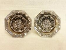 2 Antique Crystal 8 Point Door Knobs Purple Amethyst Uranium Glows ! No Spindles