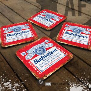 Budweiser Label Drinks Coaster Collection Mancave Shed Garage Home Bar Pub Lager