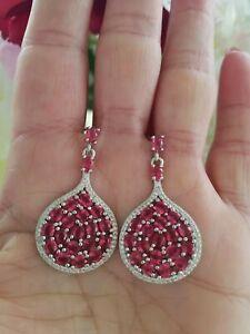 Round Cut Pink Tourmaline Cluster Drop Earrings,  Rhodium/Silver