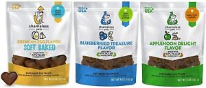 (3 Flavor Bundle) SHAMELESS PETS Vegetarian Soft-Baked Dog Treats | 6 Ounce