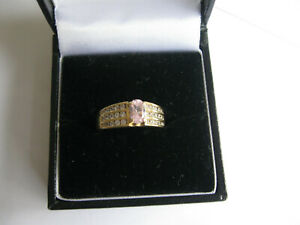 14ct gold Ring Pink and Clear Diamonique Stones Size M