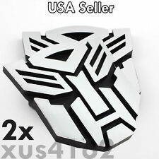 2 x 3D Chrome Autobot 3 Inch Transformers Emblem Badge Decal Car Stickers Truck