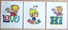 Marty Links 3 Retro 1974 8x10 Posters Smile Hi Love Rainbow Wall Pop Art Nursery