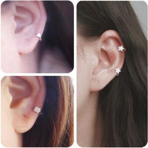 Sterling Silver Mini Hoop Plain Star Square Triangle Huggie Hinged Earrings