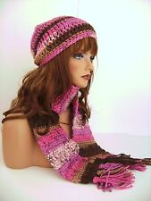 PINK BROWN HAND CROCHET HAT AND SCARF SET HAND MADE BEANIE CLOCHE BOHO TAM CAP
