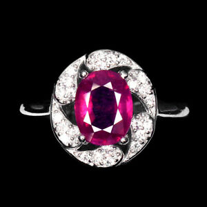 Oval Red Ruby 8x6mm Cz 14K White Gold Plate 925 Sterling Silver Ring Size 8