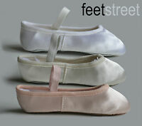 White  Ivory Satin Ballet Shoes with PRE-SEWN  Elastic Ch 8 to Ad 8.5