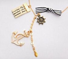 SAILORS CHARM CLUSTER NECKLACE nautical pirate rockabilly retro pin up anchor C6