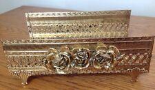PRE-OWNED VINTAGE/RETRO GOLD METAL FILIGREE VANITY TISSUE BOX KLEENEX HOLDER