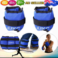 2x 0.5kg Ankle Weights Sport Gym Weights Wrist Fitness RunningTraining 1kg Blue