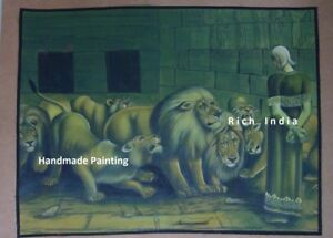 Handmade painting Artist Europe art gallery Daniel in the lions' den Greece