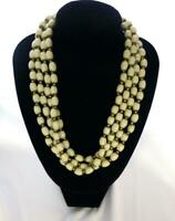 Beautiful Vintage Signed Miriam Haskell Four Strand Cream Glass Bead Necklace