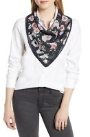 "Rebecca Minkoff LOVE Flowers 32"" Square Scarf One Size Black Pink Cotton"