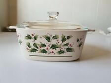 Vintage Fine China Christmas Covered Casserole HOLLY & BERRY Made in Japan 2 QT.