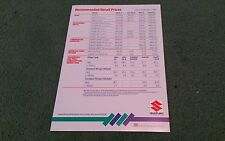March 1986 SUZUKI UK PRICE LIST ALTO SWIFT SJ410 SJ413 4x4 SUPER CARRY BROCHURE