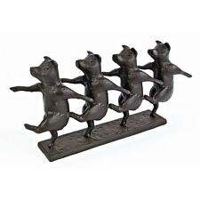 Can Can Line Pigs Dancing Contemporary Cast Iron Countryside Animal Statue
