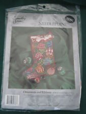 ORNAMENTS AND RIBBONS STOCKING - CHRISTMAS - Candamar Needlepoint Kit - NEW