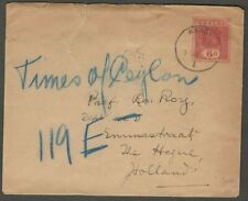 AOP Ceylon KGV King George V 6c red envelope used uprated to Holland 1922