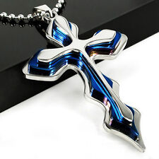 "SSteel and Blue 3-Layer CROSS Necklace 4 1/8"" x 1 3/8"" with 24"" Ball Link Chain"