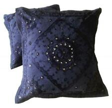 5 Blue Indian Mirror Work Embroidery USA Pillow Toss Cushion Covers AICC1082