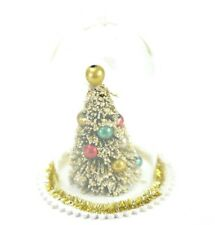 Retro Vintage Style Glass Christmas Tree Cloche Ornament 4.5 Inch Tall. NEW
