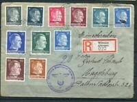 Germany 1942 Registered Cover Winniza Ukraine to Magdeburd Overprint WWII g1412s