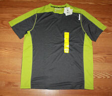 NWT Mens REEBOK Dark Gray Lime Green Accent Crew Neck Hydromove S/S T-Shirt L
