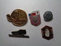 Set of 5 Vintage USSR soviet enamel pin badge original 54